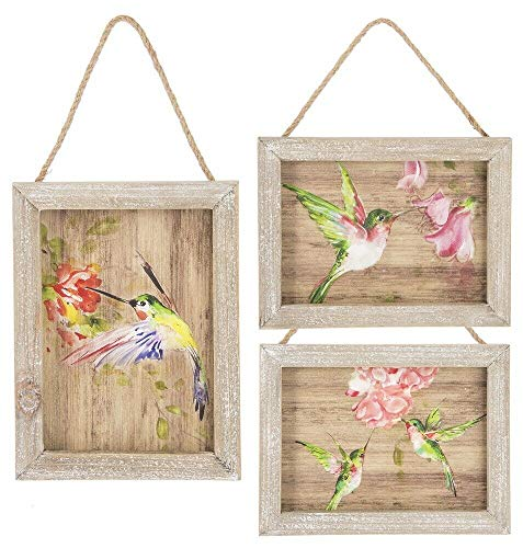 Ganz Home Patio Art Decor 8x6in Hummingbird Hanging Wall Plaques 3pc ()