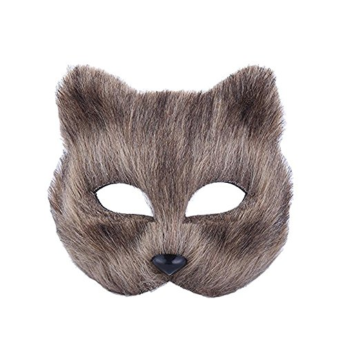 JUNBOON Halloween Fox Mask Half Face Animal Headgear Furry Cosplay Party Costume Accessory(Brown mask)