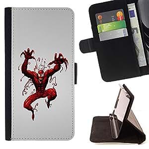 BullDog Case - FOR/Samsung Galaxy S5 Mini, SM-G800 / - / superhero villain red paint art spider comic /- Monedero de cuero de la PU Llevar cubierta de la caja con el ID Credit Card Slots Flip funda de cuer