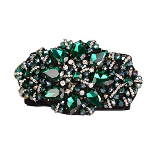 Dorchid Women Rhinstone Belt Full Crystal Buckle Cummerbund Wide Elastic Waistband 7 Colors Green
