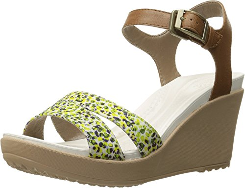 crocs Women's Leighii Ankle Strap Wedge, Hazelnut/Gold, 8 M US