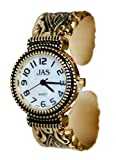 JAS Rose Gold Plated Ladies Bracelet Bangle Metal Watch Antique Marcasite Style Extra Battery