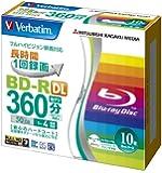 三菱化学メディア Verbatim BD-R DL 2層式 (ハードコート仕様) 1回録画用 50GB 1-4倍速 5mmケース 10枚パック ワイド印刷対応 ホワイトレーベル VBR260YP10V1