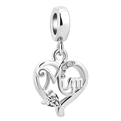 7cbbf54dc Sug Jasmin Hollow Heart Love Mothers Day Charms for Mum Beads Fits European  Bracelets: Amazon.co.uk: Jewellery