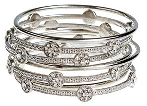 Women Bangle Bracelets Plus Size - Sparkly With Crystals 3 Inches in Diameter