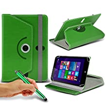 "ONX3® HP Stream 7 7"" Inch Rotating 360 Luxury PU Leather Spring Stand Cover - Various Colours (Green + Pen)"