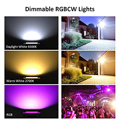 Novostella 2 Pack 20W Smart LED Flood Lights, RGBCW, 2700K-6500K, 2000LM, WiFi Outdoor Dimmable Color Changing Stage Light, IP66 Waterproof, Multicolor Wall Washer Light, Work with Alexa