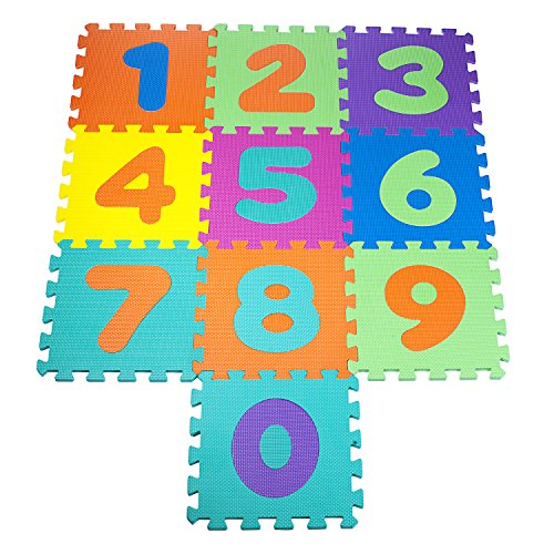 Colorful Foam Play Mat Numbers Puzzle Set Of 10 Connecting Puzzle Pieces