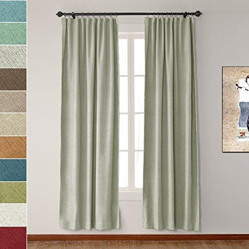 ChadMade Flat Hook 72W x 96L Inch Heavyweight Luxury Faux Linen Curtain Drape Panel For Bedroom Living Room Study Patio Door GREY BEIGE (1 Panel) (Door Patio 6-0)