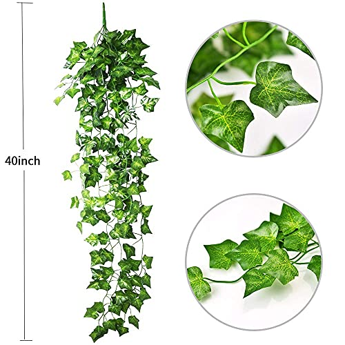 WARMIE Artificial Hanging Plants Fake Ivy Garland Artificial Plant Vines Fake Leaves 40 Inch Artificial Plants Indoor/Outside Garden Wedding Party Vines for Bedroom Plant 2 PCS(Ivy Leaves)
