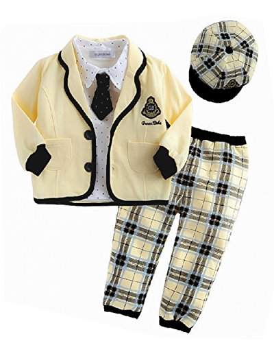 StylesILove Infant Toddler Baby Boy Yellow Jacket, Shirt, Pants, Tie and Hat 5-pc Set (80/12-18 Months)