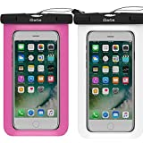 2 Pack Waterproof Case,iBarbe Universal Cell Phone Plasic TPU Dry Bag for iPhone 7 7 plus 6S 6/6S Plus 5/S/SE 5C samsung galaxy Note 5 s8 s8 plus S 8 S7 S6 Edge s5 etc.to 5.7 inch,White+Rose