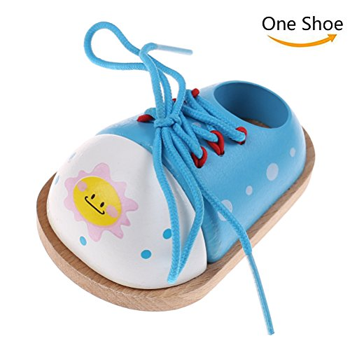 CosCosX 1 Pcs Wood Lacing Sneaker,Learn to Developing Tie a Shoe Educational Teaching Aids Wooden Lacing Shoelace Puzzles for Kids Children