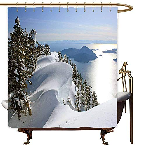 MaryMunger Kids Bathroom Shower Curtain Winter Pacific Ocean Meets The Mountains Vancouver British Columbia Canada Wilderness Scenery Metal Build W48x84L ()