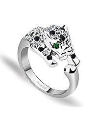Acefeel Fashion White Gold Silver Color Leopard Ring for Women