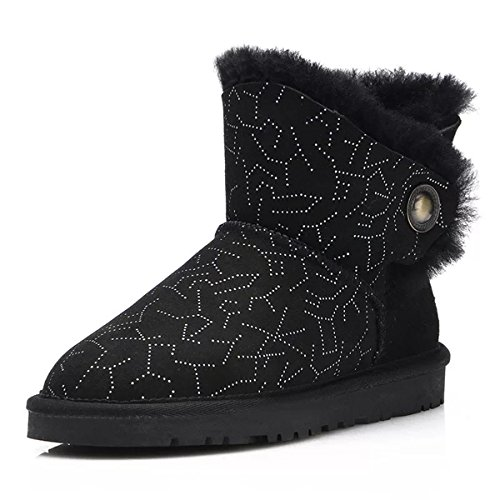 Sheepskin Snow Boots Sky Boots Thick Ankle Black Sude Starry Women's Winter Boot Fur 4qFna