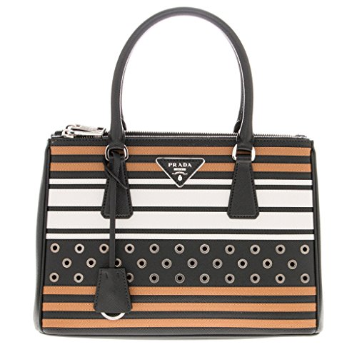 Prada-Womens-Double-Zip-Saffiano-Grommets-Tote-Black-Brown