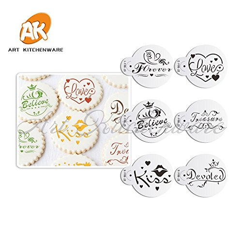 ntine Cookies Stencil Cupcake Stencil Template Kitchen Accessories Pastry Tools Cake Decorating Tools Bakeware ()
