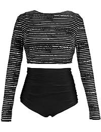 c43160be99 Women's Long Sleeve Swim Shirt Rash Guard Top Tankinis Set High Waist  Bathing Swimsuit(FBA