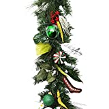 Valery Madelyn 6 Feet Red Green Silver White Artificial Greenery Spruce & Eucalypti balls Garland for Wedding Party Garden Wall Décor , Battery Operated 20 LED Lights with Remote and Timer