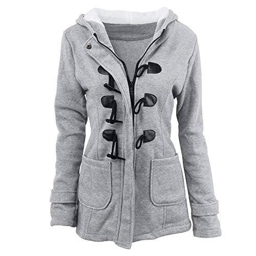Outwear Estilo Cerniera Con Invernali Lunga Coat Bobo Giacca Hellgrau Especial Anteriori Modern 88 Giaccone Donna Calda Tasche Monocromo Manica Cappuccio Stile qfwp78wa