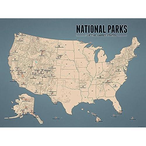 US National Parks Map Amazoncom