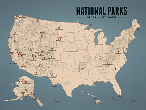 US National Parks Map 18x24 Poster (Tan & Slate Blue)
