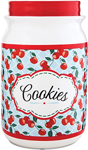 (Pavilion Gift Company 49040 You and Me by Jessie Steele  Ceramic Cookie Jar, 9-Inch, Kitchen Cherries)