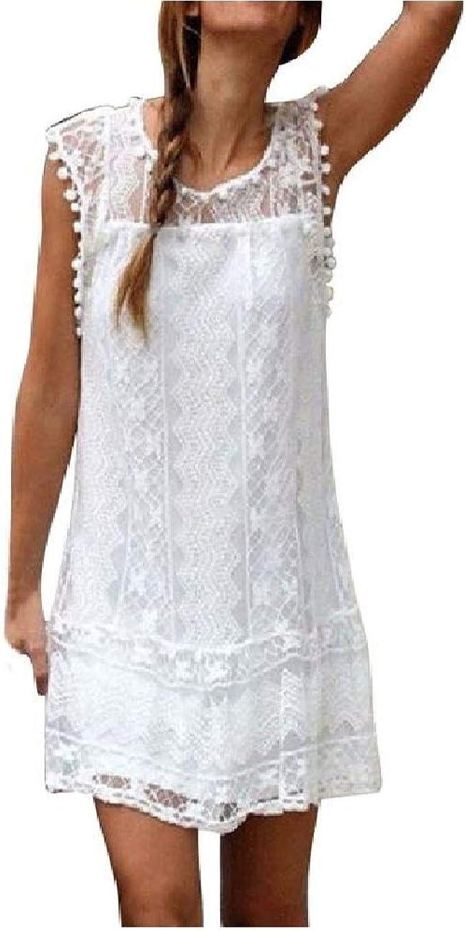 MAYOGO Damen Partykleid Spitzekleid Hippie Boho Sommerkleid Häkeln Kleider Frauen Mode Gestickt Ärmellos Kleid Minikleid Rundhals Strandkleid Kleidung