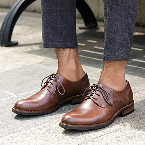 uomo artigianali 46 brogue Brown in casual Scarpe Color in scarpe pelle inglese pelle Brown EU Size vera stile Oxford Ruanyi per Fzw5qaUw