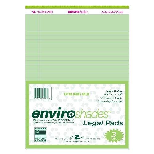 "Roaring Spring Enviroshades 8.5"" x 11.75"" Green Legal Pads, 3/pack"
