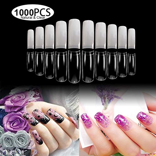 beYou 2Pack Natutal/Clear 2 Color French 1000 Nail Tips(Clear 500tips/Natural 500tips) 10Sizes,Long Ballerina Nails, Acrylic Nail Tips (French)