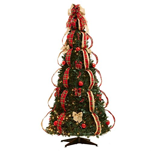 Brylanehome Flat-To-Fabulous Fully Decorated, Pre-Lit 6-Ft. Christmas Tree (Plaid,0) (Trees Un-lit)