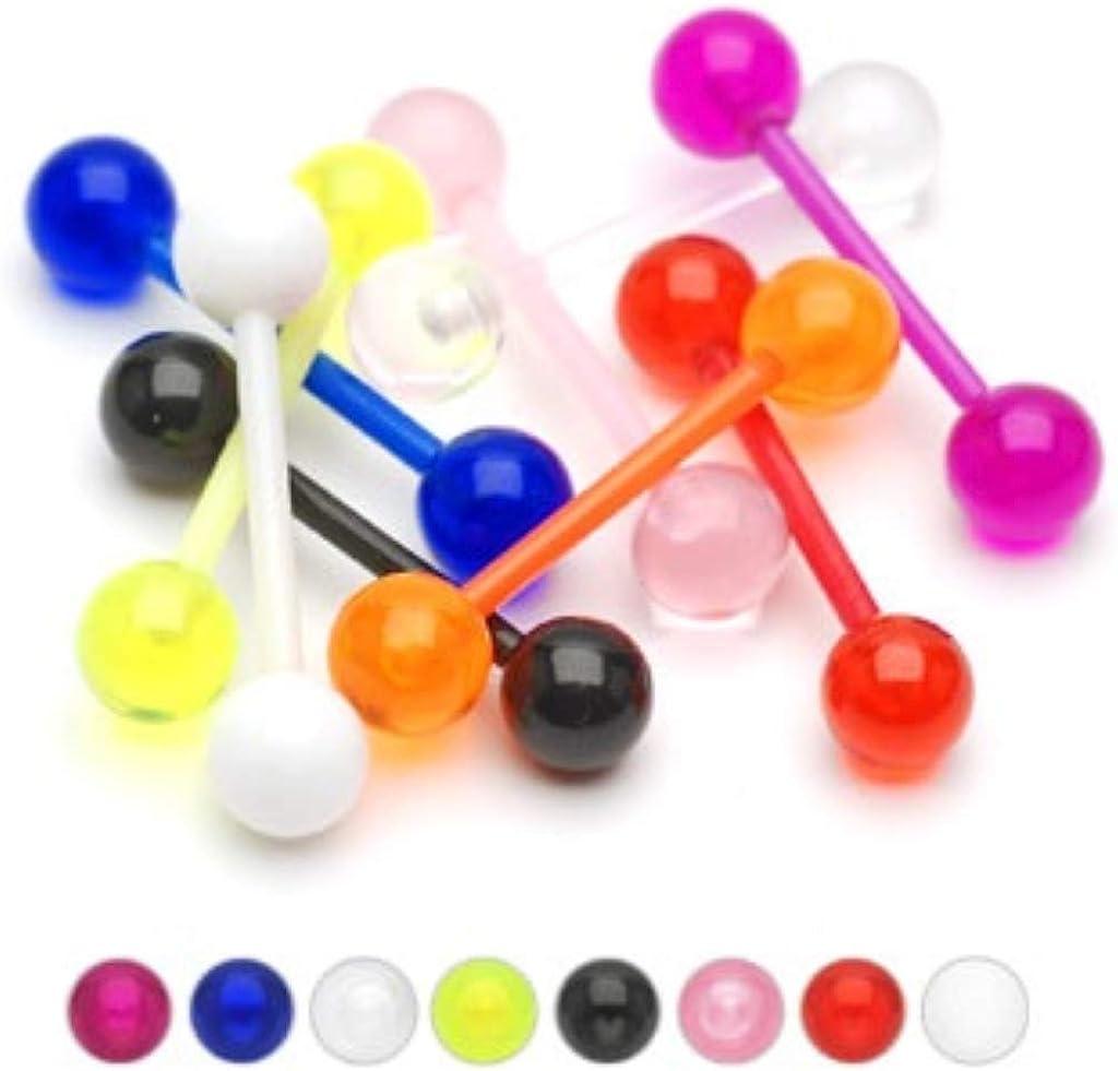 CrazyPiercing 100Pcs 14G Acrylic Tongue Rings Multi Color Assortment Flexible Tongue Rings Barbells Mix Piercing