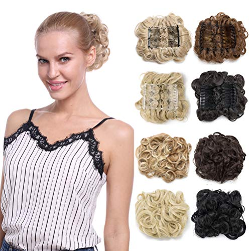 Combs Clip in Bun Claw Jaw on Updo Hairpiece Extensions Wavy Donut Chignons Wrap Around Scrunchy-brownish black