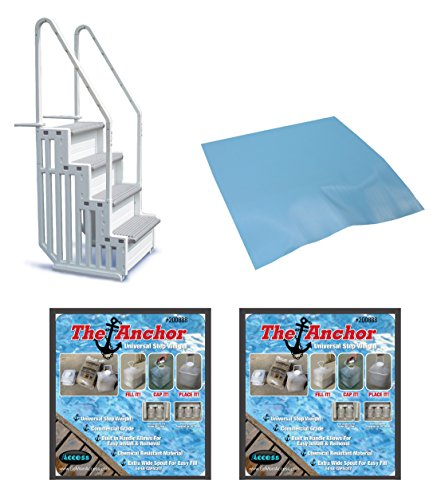 confer-step-1-above-ground-pool-ladder-step-entry-w-mat-pad-2-sand-weights