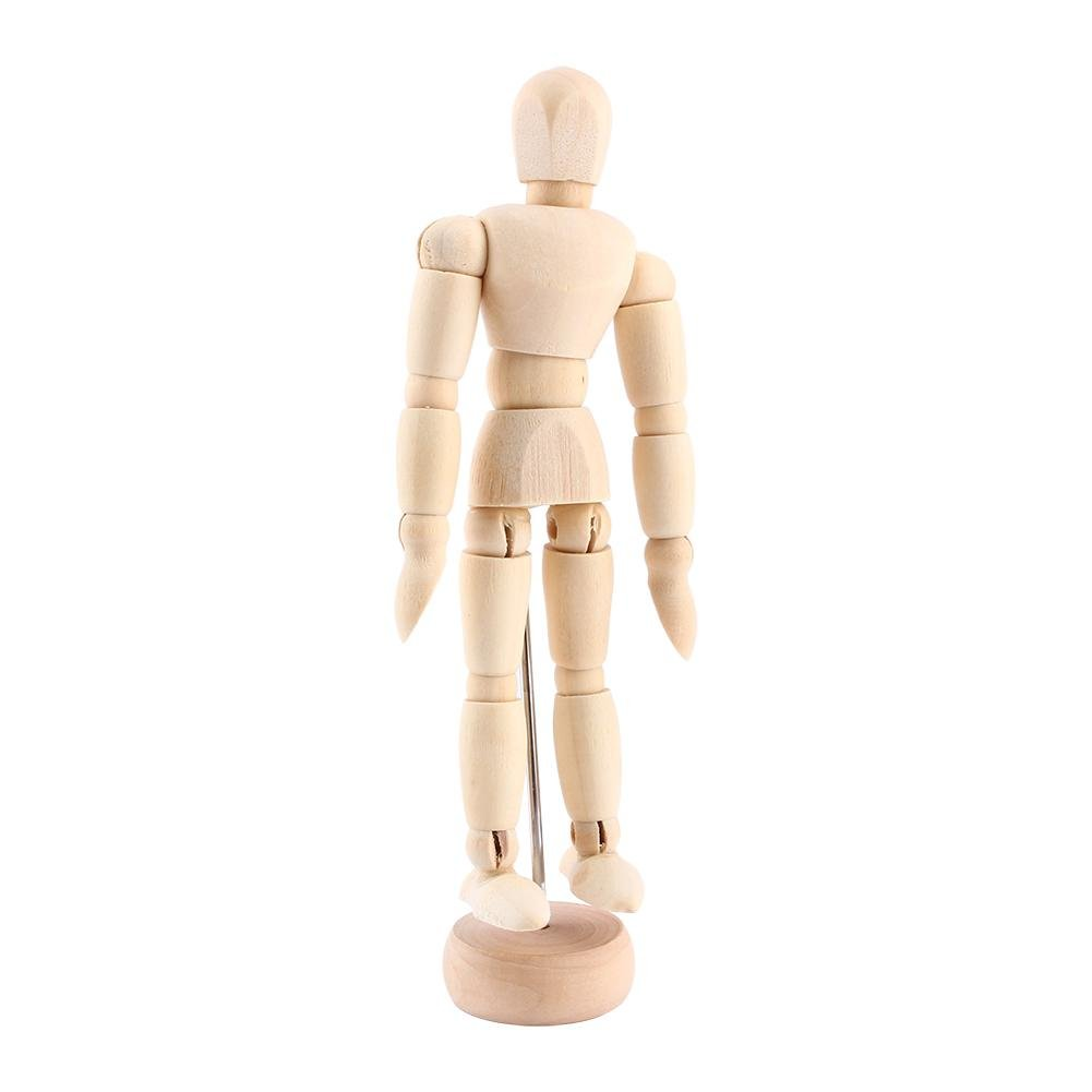Wooden Human Art Posable Drawing Flexible Joints Mannequin Manikins Figures Model for Artists Sketch Charcoal Home Office Desk Decoration Male 8inch Zerone
