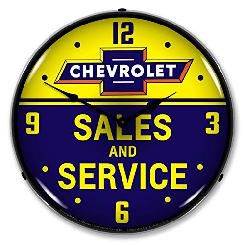 The Finest Website Inc. New Chevrolet Bowtie Sales and Service Retro Vintage Style Advertising Backlit Lighted Clock - Ships Free Next Business Day to Lower 48 States