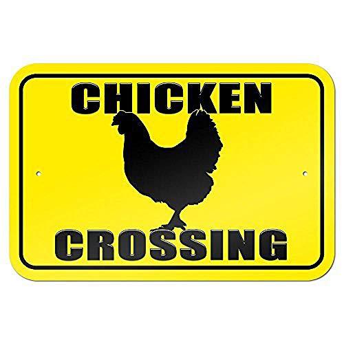 (Chicken Crossing Road Tin Sign House Decor Food Drink Bar 20 cm x 30 cm)