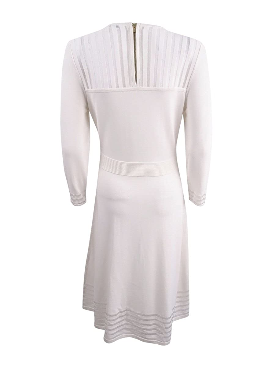 c5644531aee Calvin Klein Women s Illusion-Stripe Fit   Flare Sweater Dress at Amazon  Women s Clothing store