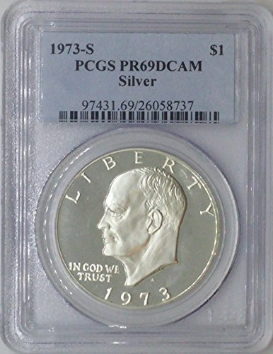 1973 S Eisenhower $1 PR69 PCGS Silver Dollar Old US Coin 90% Silver