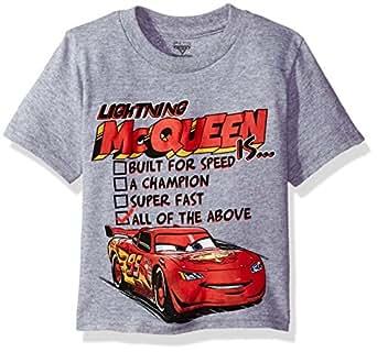 Disney Toddler Boys' Lightning McQueen Short Sleeve T-Shirt, Heather Grey, 3T