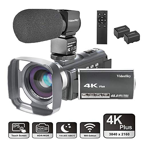"Video Camera Camcorder 4K Ultra HD VideoSky YouTube Vlogging Camera 48.0MP 3.0"" Touch Screen IR Night Vision 16X Digital Zoom WiFi Recorder with Wide Angle Lens, Microphone, Remote Control, Lens Hood from VideoSky"