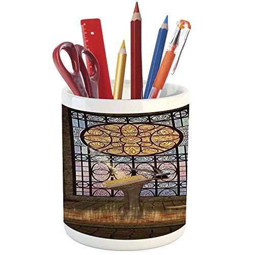 Pencil Pen Holder,Gothic,Printed Ceramic Pencil Pen Holder for Desk Office Accessory,Lectern on Pentagram Symbol Medieval Architecture Candlelight in Dark Spell Altar - Table Light Lectern