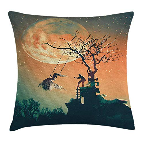 niunai Fantasy World Decor Throw Pillow Cushion Cover, Spooky Night Zombie Bride and Groom Lady on Swing Sky Full Moon Image, Decorative Square Accent Pillow Case, 18 X 18 inches, Orange Teal]()