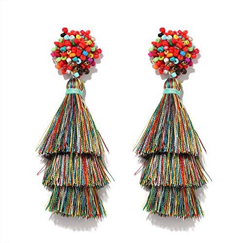 HEIDKRUEGER Layered Tassel Earring Bohemian Lightweight Colorful Tiered Thread Long Fringe Tassel Drop Dangle Beaded Statement Stud Earring Women Gifts (Rainbow)