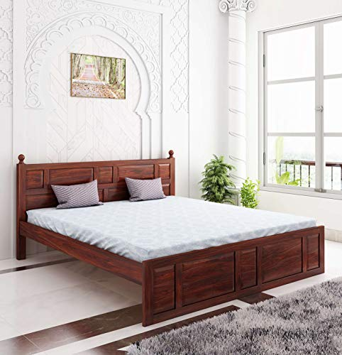 Home Edge Sheesham Solid Wood Joplin Queen Without Storage Bed