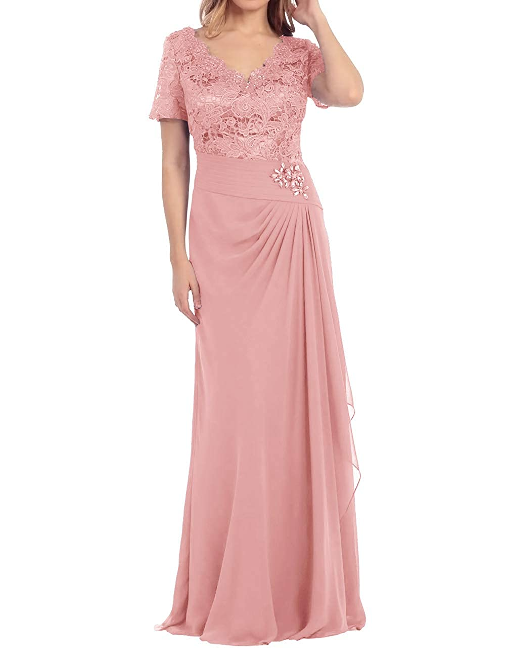 bluesh Mother of The Bride Dress Beaded Lace Prom Evening Gowns