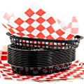 Retro Style Black Fast Food Basket (6 Pk) and Red Checkered Deli Liner (60 Pk) Combo. Classic 11 In Deli Baskets Are Microwavable and Dishwasher Safe. Disposable Deli Paper Squares for Easy Cleanup