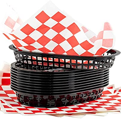 Amazon.com: Retro Style Black Fast Food Basket (6 Pk) and ...